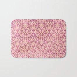 Vintage Antique Pink-Rose Wallpaper Pattern Bath Mat