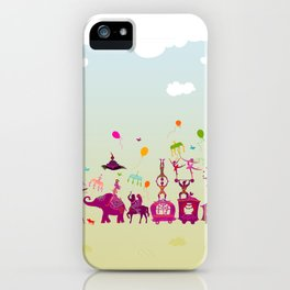 colorful circus carnival traveling in one row during daylight iPhone Case
