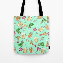Fun Summer Watercolor Painted Mixed Drinks Pattern Tote Bag