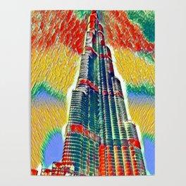 Colorful Burj Khalifa painting Poster