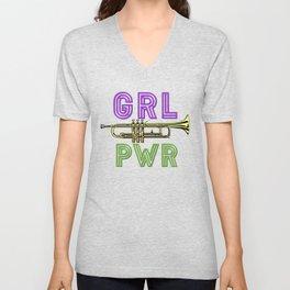 (Girl Power) GRL PWR - Trumpet Unisex V-Neck