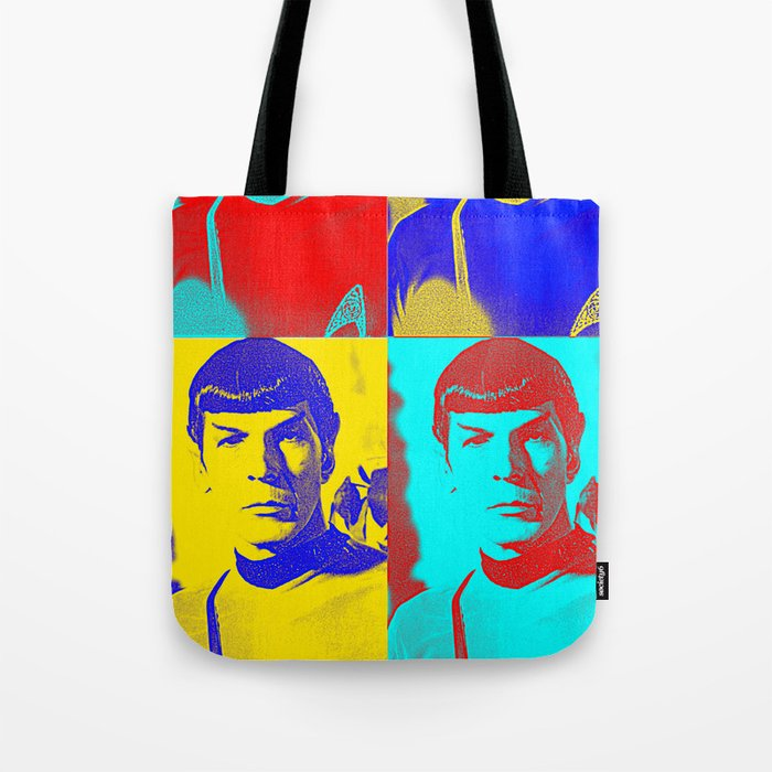 Science Officer Spock Andy Warhol Remix Tote Bag By Invaderdig