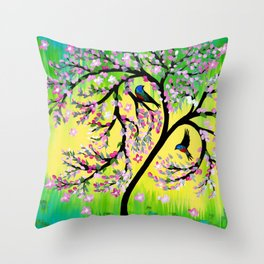 Green Tree of Life With Japanese Cherry Blossom Throw Pillow