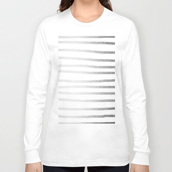 Simply Drawn Stripes Moonlight Silver Long Sleeve T-shirt