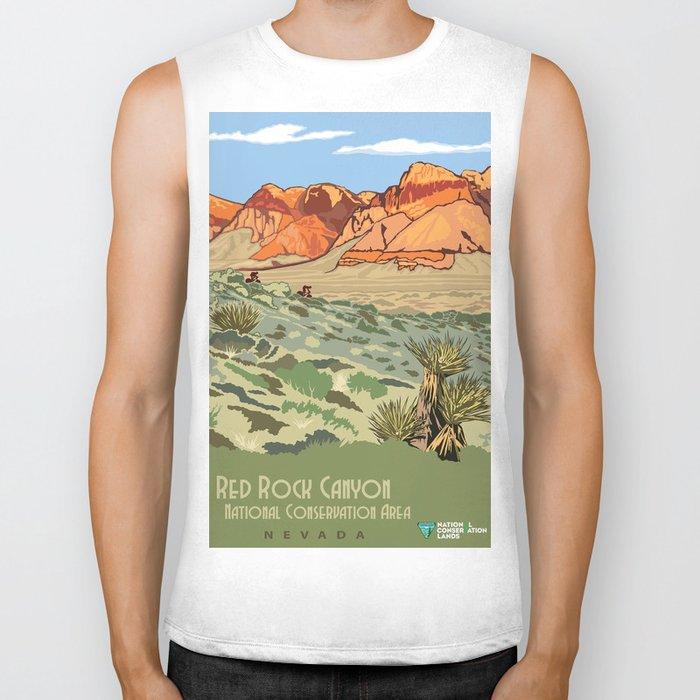 Vintage Poster - Red Rock Canyon National Conservation Area, Nevada (2015) Biker Tank
