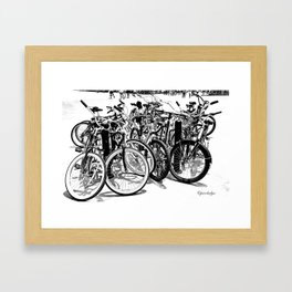 A gahtering of bicycles, black and white Framed Art Print