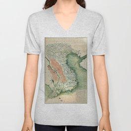 Yuenan Quan Jing Yu Tu (Map of Vietnam circa 1885) Unisex V-Neck