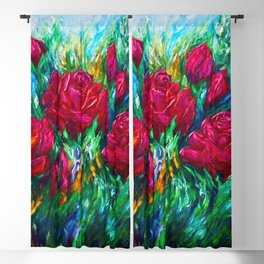 Red Roses Palette Knife Blackout Curtain