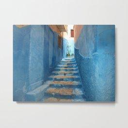 Narrow Blue Stairway in Morocco Metal Print