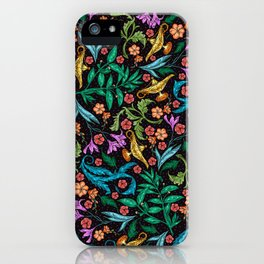 Asian-Inspired Floral Pattern With Gold Magical Lanterns iPhone Case