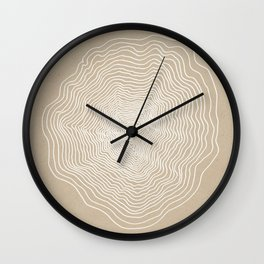 Beige White Abstract Tree Rings Wall Clock