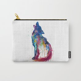 Howling Wolf Watercolor Silhouette Carry-All Pouch