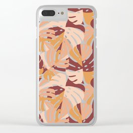Color Block Monstera Leaves in Maroon Clear iPhone Case