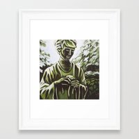 real madrid Framed Art Prints featuring Statue in Palace Real Gardens, Madrid, Spain by Laura Teed