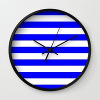 stripes Wall Clocks featuring Horizontal Stripes (Blue/White) by 10813 Apparel