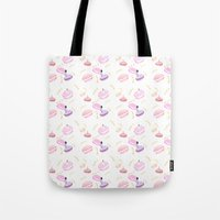 macaroon Tote Bags featuring Macaroon Delight Pattern by kitelin