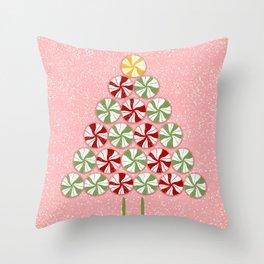 Peppermint Christmas Tree Throw Pillow