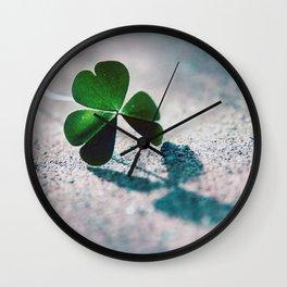 Green Clover Shadow Wall Clock