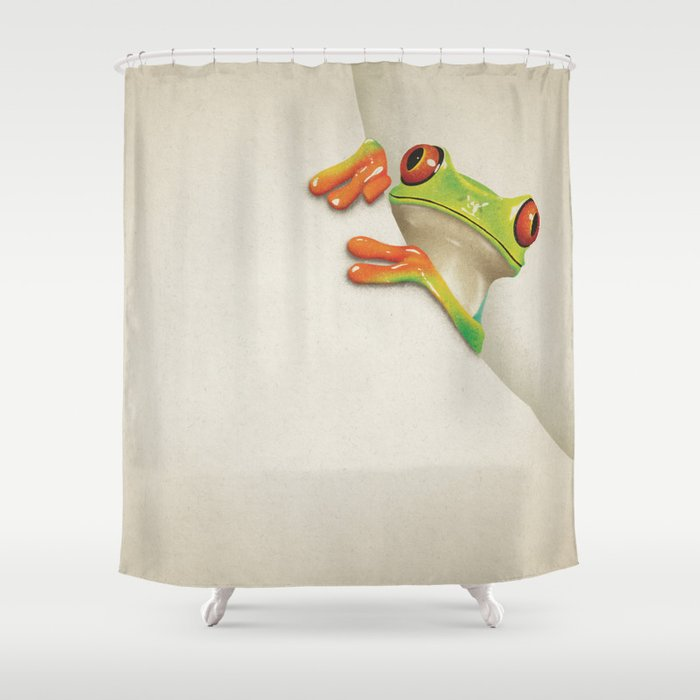 Little Red Eyed Tree Frog Shower Curtain By Paulcapon