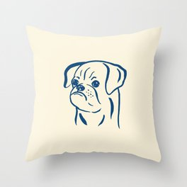 Petit Brabancon (Beige and Blue) Throw Pillow