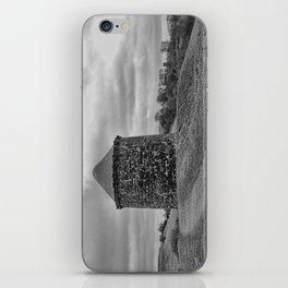 Beacon Tower at Burton Dassett Black and White iPhone Skin