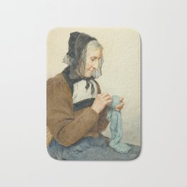 ANKER, ALBERT (1831 Ins 1910) Seated Woman sewing. 1906th Bath Mat