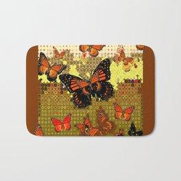 Coffee Brown Abstracted Black & Orange Monarch Butterflies Bath Mat