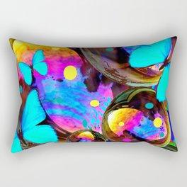BLUE BUTTERFLIES & IRIDESCENT ORBS ART Rectangular Pillow