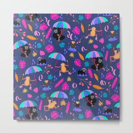 Monkeys in Rain Boots | Neon Brights Metal Print