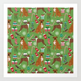Boxer dog christmas pattern must have holiday themed dog breed pet friendly accessories for home Art Print