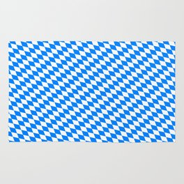 Bavarian Blue and White Diamond Flag Pattern Rug