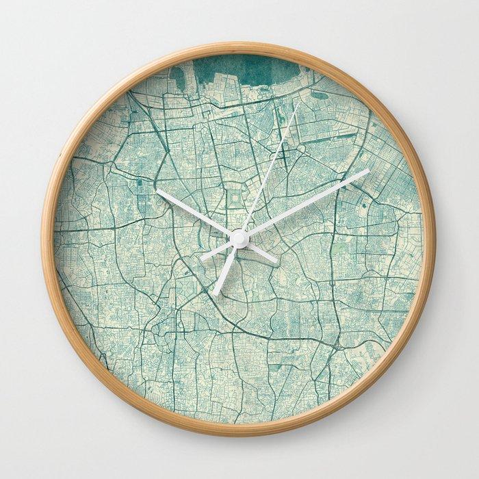 Jakarta Map Blue Vintage Wall Clock
