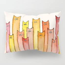 Cats Autumn Colors Pattern Whimsical Cat Orange Red Yellow Animals Pillow Sham