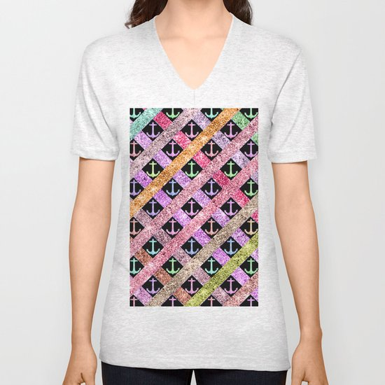 Girly Colorful Glitter Nautical Anchors Stripes Unisex V-Neck