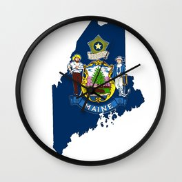 Maine Map with Flag of Maine Wall Clock
