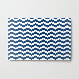Blue zigzag stripes pattern decor Metal Print