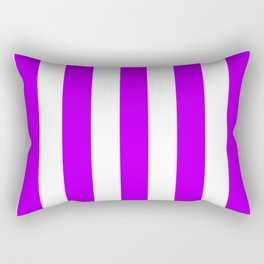 Electric purple - solid color - white vertical lines pattern Rectangular Pillow