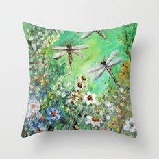 Dragonfly Summer Throw Pillow