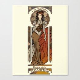 Steampunk Nouveau- Cream Canvas Print