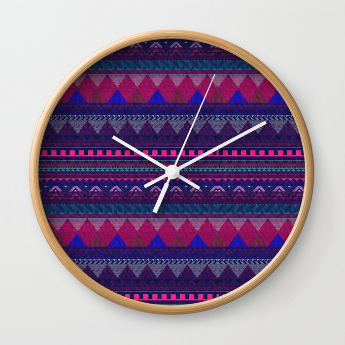 KNITTED AZTEC PATTERN Wall Clock by vasarenar | Society6