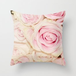 Pretty Pink White Roses Throw Pillow
