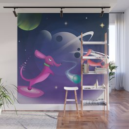 Interstellar Atomic Space Dachshunds Playing Fetch Wall Mural