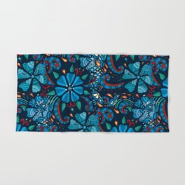 Floral Red and Blue Mixed Hand & Bath Towel