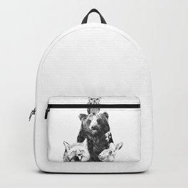 Black and White Woodland Animals Backpack