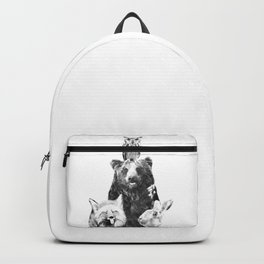 Black and White Woodland Animals Backpack