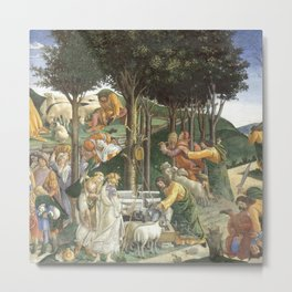 Trials of Moses Painting by Botticelli - Sistine Chapel Metal Print