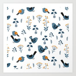Modern Birds Pattern Art Print
