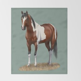 Beautiful Bay Pinto Quarter Horse Throw Blanket