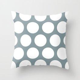 Large Polka Dots: Neutral Blue Throw Pillow