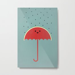 Watermelon Umbrella Metal Print